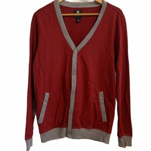 PJ Mark Mens Button Front Red Cardigan Size Large